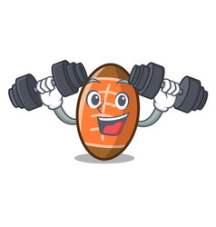 fitness rugby ball character cartoon vector image