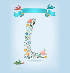 Floral letter l with blue ribbon and three doves vector