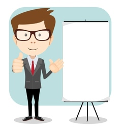 Friendly businessman pointing to blank billboard vector image
