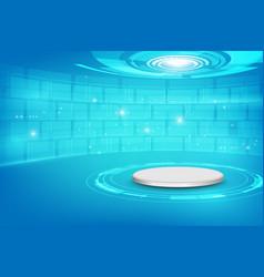 Futuristic interior with empty stage modern vector