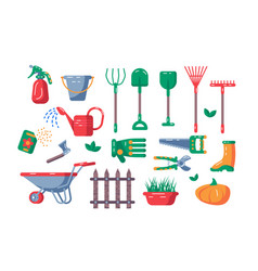 gardening equipment set vector image