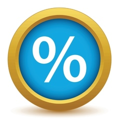 Gold percentage icon vector image