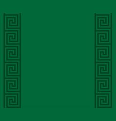 Green greek key meander border background vector