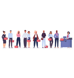 grocery queue shopping characters in store line vector image