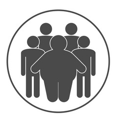 Group fat and skinny people obesity concept vector