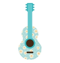 guitar instrument floral icon vector image