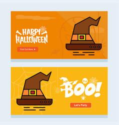 happy halloween invitation design with hat vector image