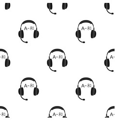 Headphones with translator icon in black style vector