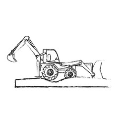 Heavy construction machinery icon image vector