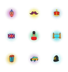 Holiday in United Kingdom icons set pop-art style vector image