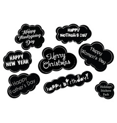 holidays stickers pack vector image