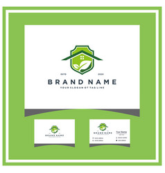 Home leaf shield logo design and business card vector