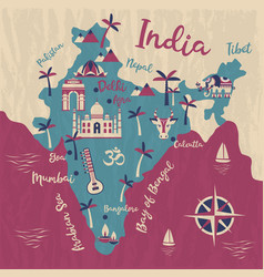 India map flat elephant cow vector