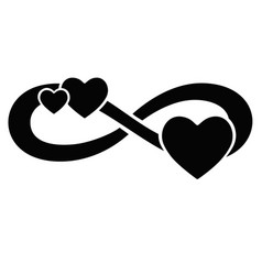 Infinity sign with three hearts - silhouette vector