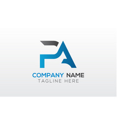 initial pa letter logo with creative modern vector image