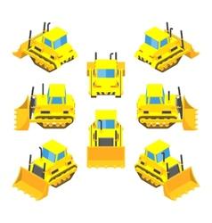 Isometric yellow bulldozer vector