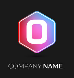 letter o logo symbol in colorful hexagonal vector image