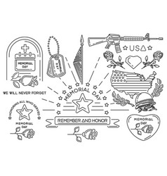 Line icons set for memorial day in usa vector