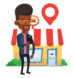 Man looking for restaurant in his smartphone vector