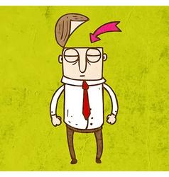 Man with an Open Head Cartoon vector image
