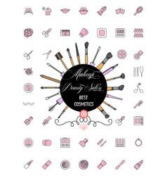 minimalist icons cosmetics tools line art style vector image
