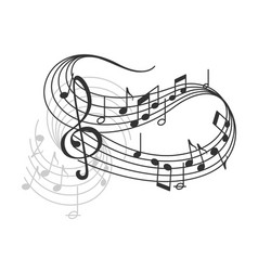 Music notes on staff poster vector