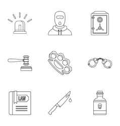 Offense icons set outline style vector