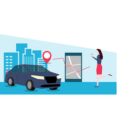 online car sharing through mobile app vector image