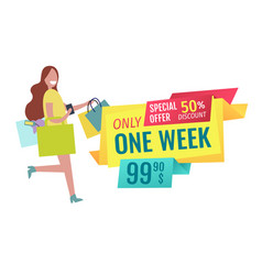 Only one week offer poster vector