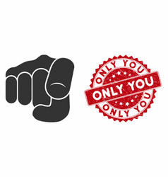 Only you icon with distress only you seal vector