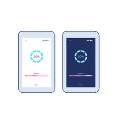 phone screen with app loading process and progress vector image