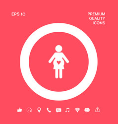 Pregnant woman icon with heart graphic elements vector