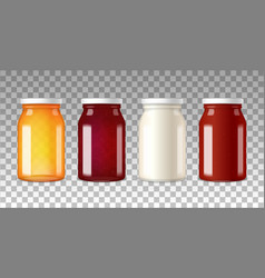 realistic glass bottles with screw caps vector image