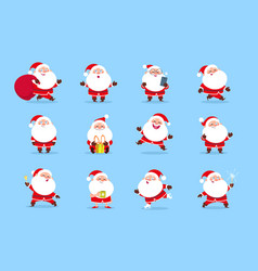 santa claus cartoon christmas fun character set vector image