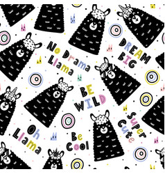 Seamless pattern with funny llamas and hand drawn vector