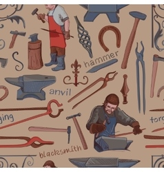 Seamless pattern with objects on blacksmith theme vector