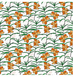 Seamless pattern with sea buckthorn bright berry vector