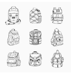 Set different hiking backpack vector