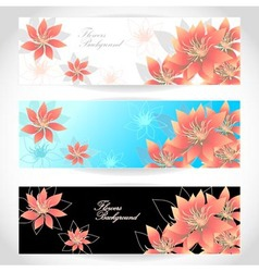 Set Flowers banners on white blue black background vector image
