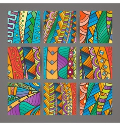 Set four colorful intricate patterns doodle vector