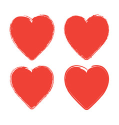set of four grunge red hearts on white background vector image
