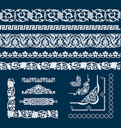 Set seamless tape patterns corner and elements vector