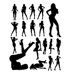 sexy woman detail silhouette vector image