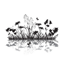 silhouettes flowers and herbs vector image