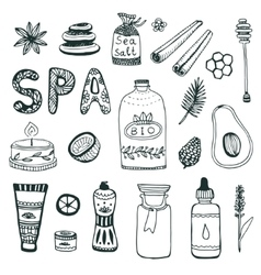 Spa hand dawn collection Beauty icon set vector image