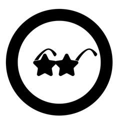 star sunglass icon in round black color vector image