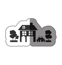 Sticker of black silhouette of family away from vector