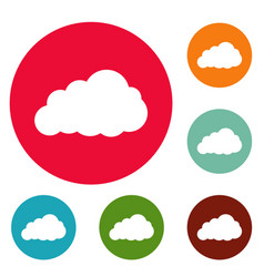 Storm cloud icons circle set vector