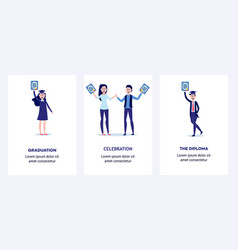 students graduating from university with diplomas vector image