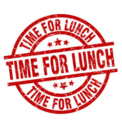 time for lunch round red grunge stamp vector image